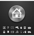 Smart home automation technology metal button vector image