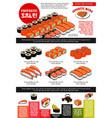 Sushi bar menu template of japanese cuisine vector image
