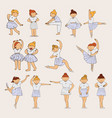 little cute ballerina girls drawn in pastel colors vector image vector image