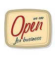 Vintage open sign vector image