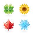 Four seasons nature flat icon set Green shamrock vector image