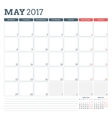 Calendar Planner Template for May 2017 Week vector image