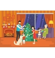 Family with children celebrating christmas holiday vector image