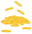 Gold coin falling to the ground vector image