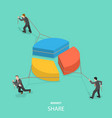 market share flat isometric concept vector image