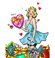 pin up woman with gifts blond girl character happy vector image