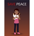 Sad crying girl holding a dove vector image