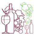 Wine glass of wine grapes and bottles vector image