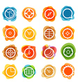 White circle icons clip-art on color blots vector image