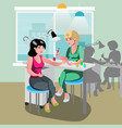 a woman gets a spa treatment from a nail master in vector image
