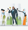 businessman with a bank card vector image