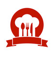 icon with ribbon chef hat and utensil vector image