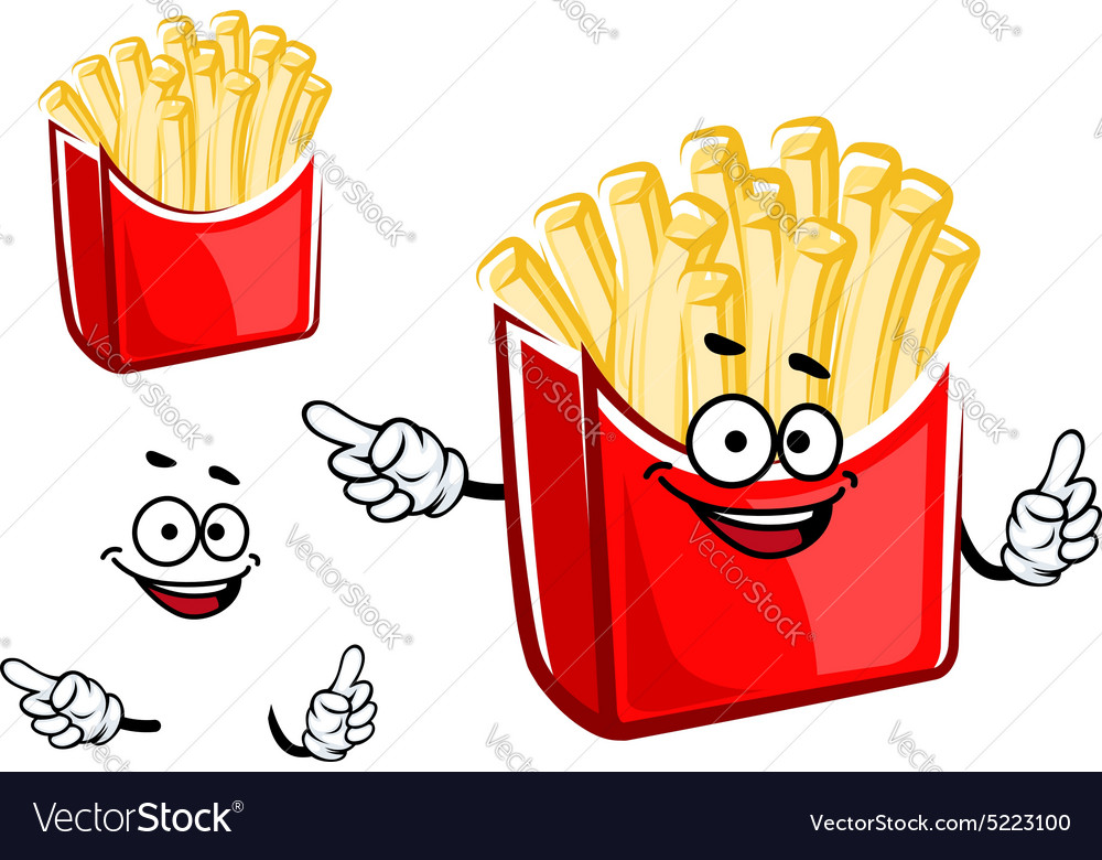 Cartoon french fries box character vector