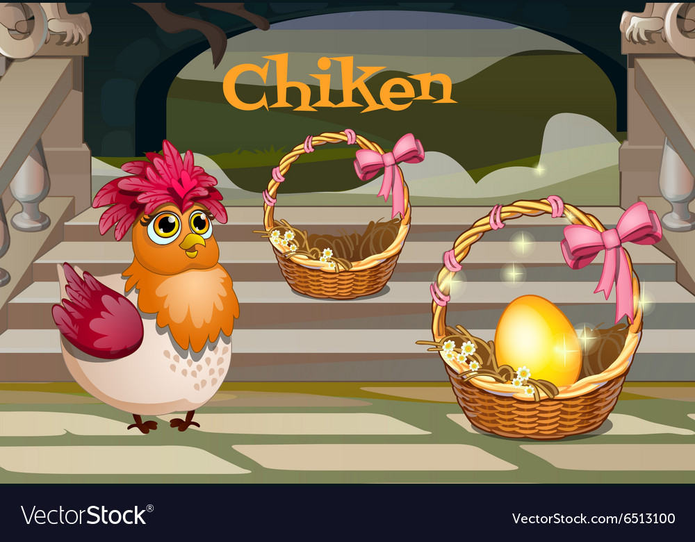 Hen with the golden egg in basket vector