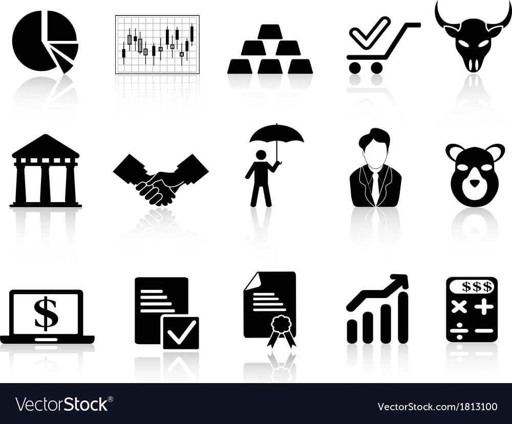 Stock exchange icons set vector