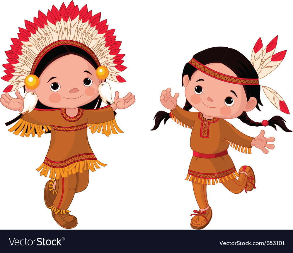 Cute couple of american indians children dancing vector