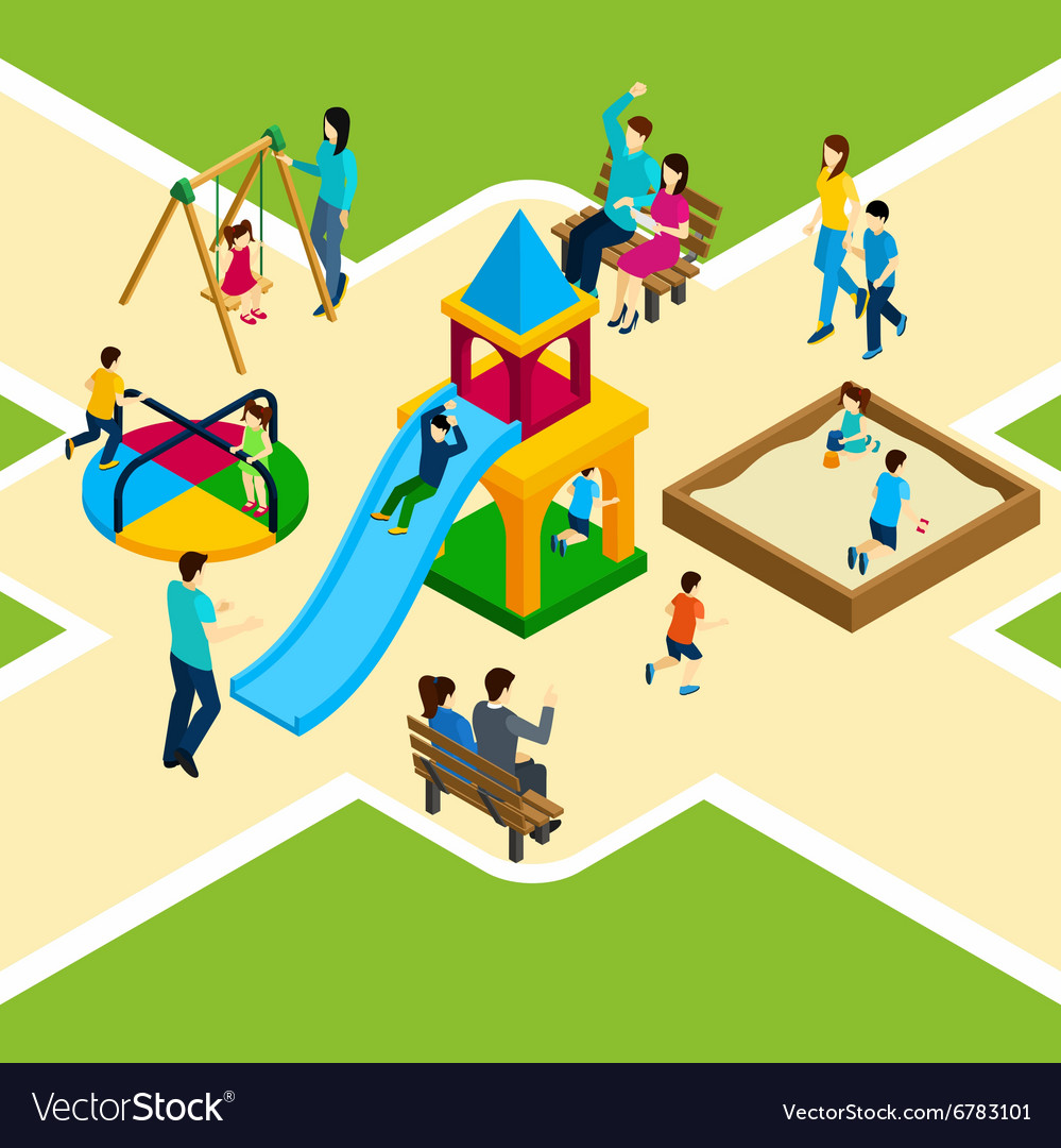 Isometric kids playground vector