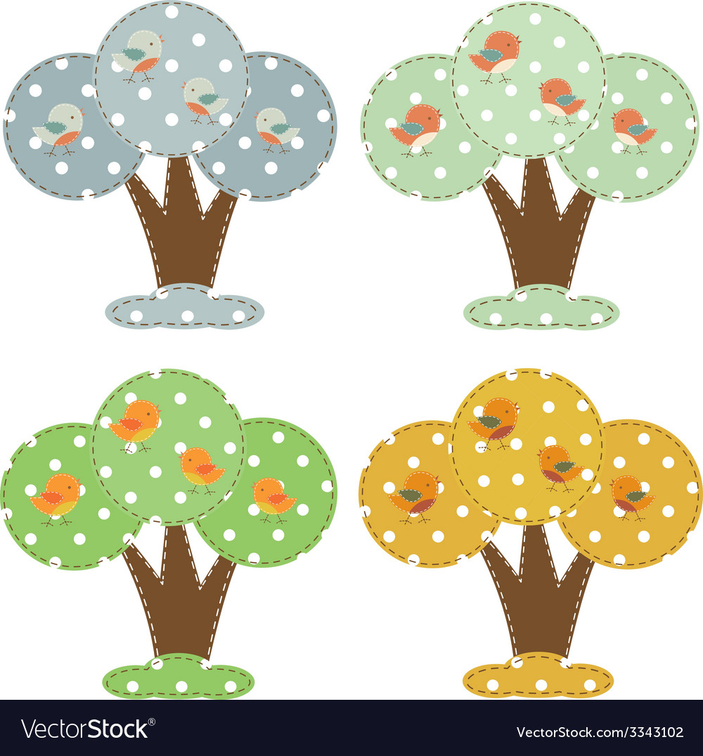 Season cartoon trees vector