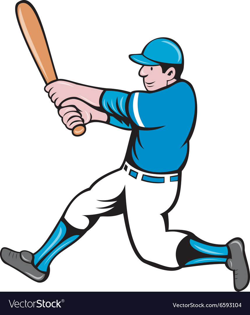Baseball player batter swinging bat isolated vector