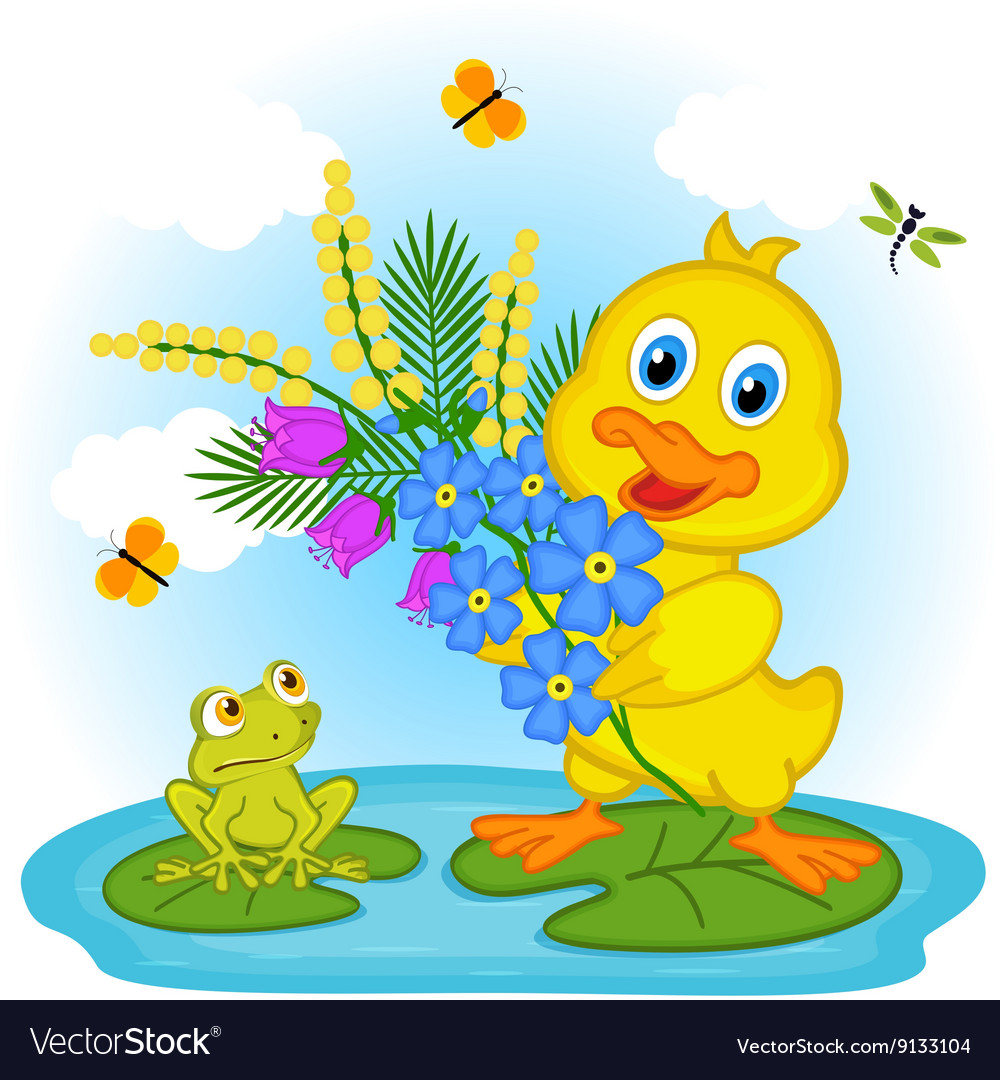 Duckling with flowers vector