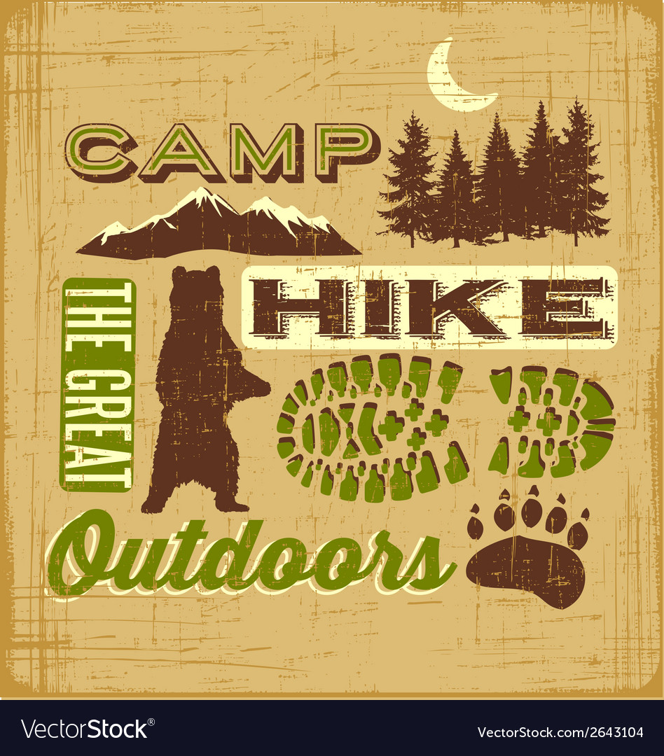 Hiking camping design elements collage sign vector