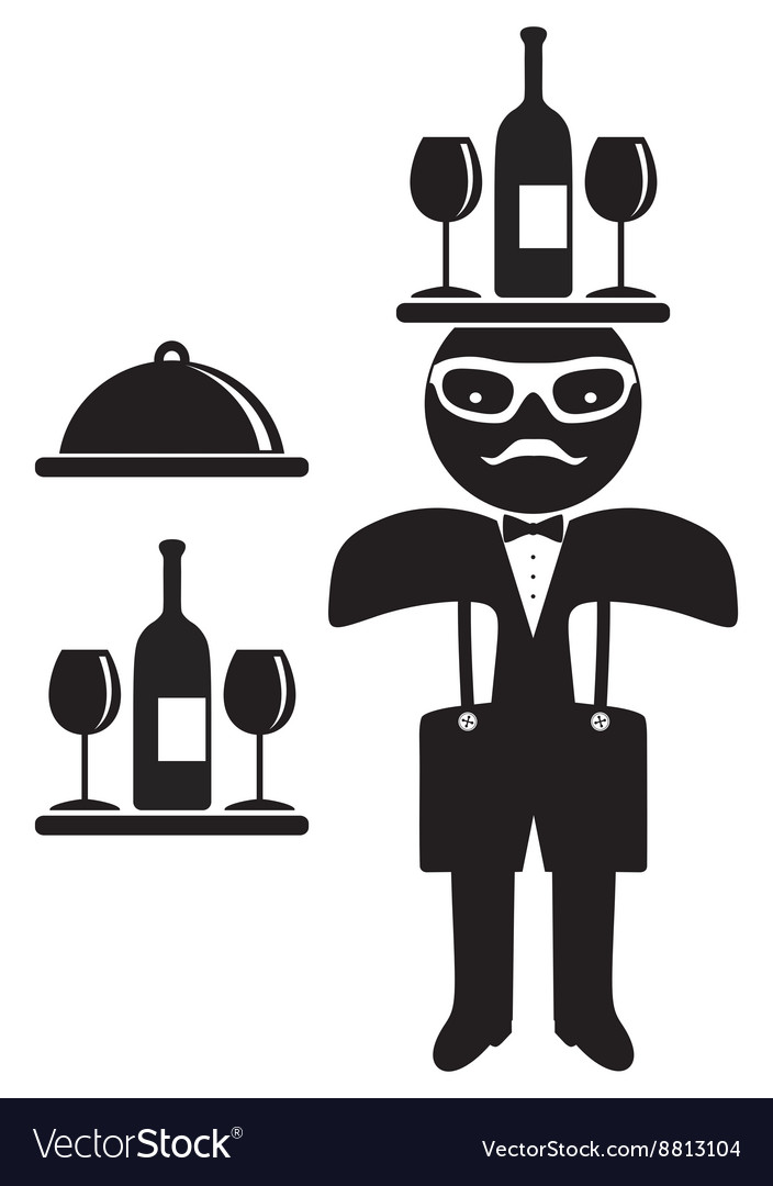 Hipster man bow tie waiter vector