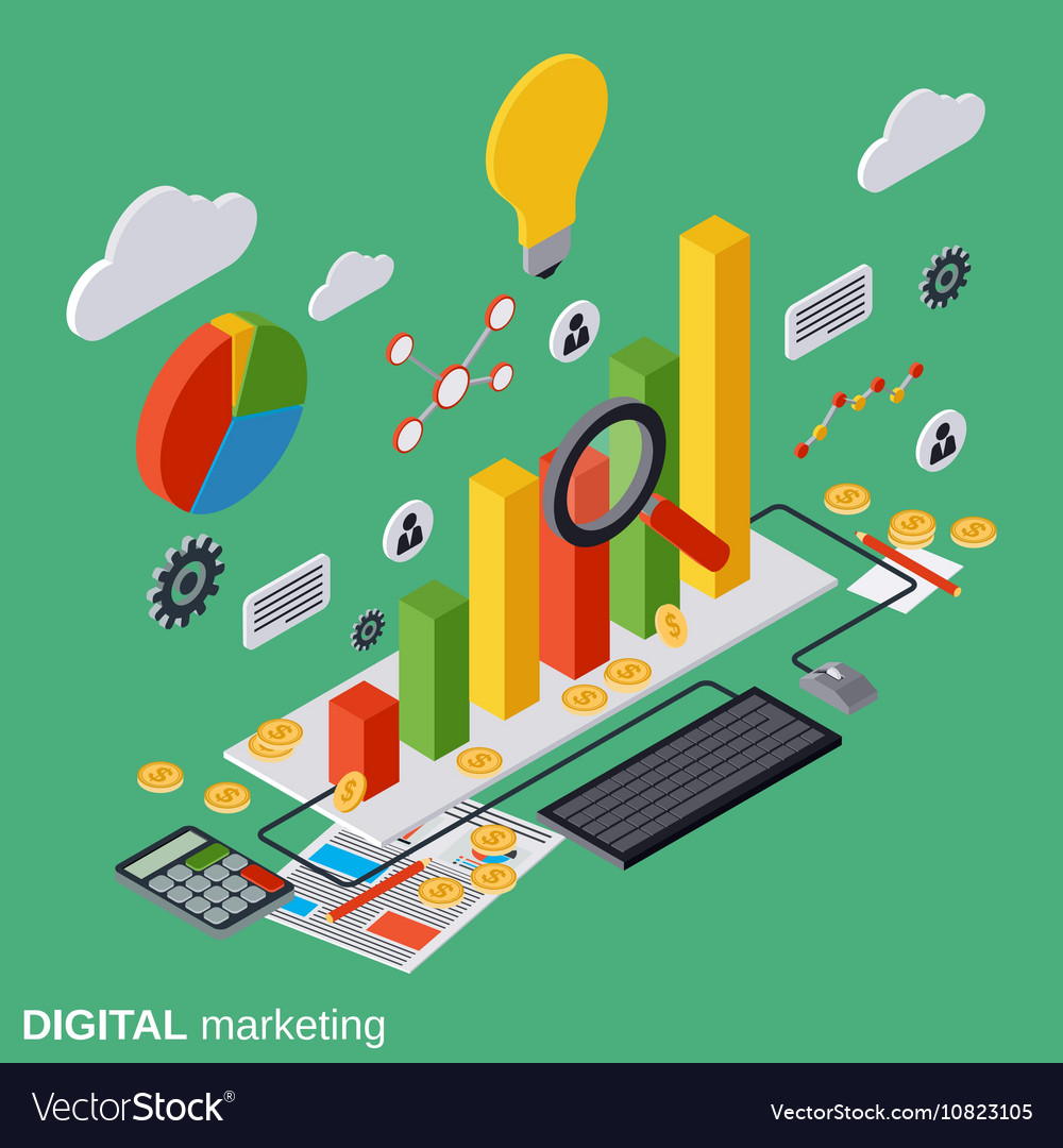 Digital marketing management concept vector