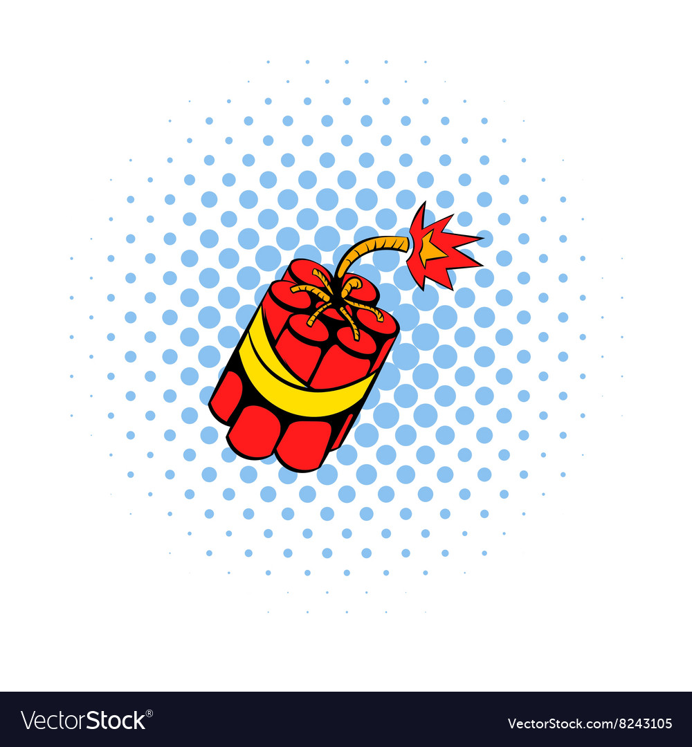 Red dynamite sticks icon comics style vector