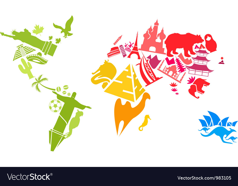 World map made of landmarks vector