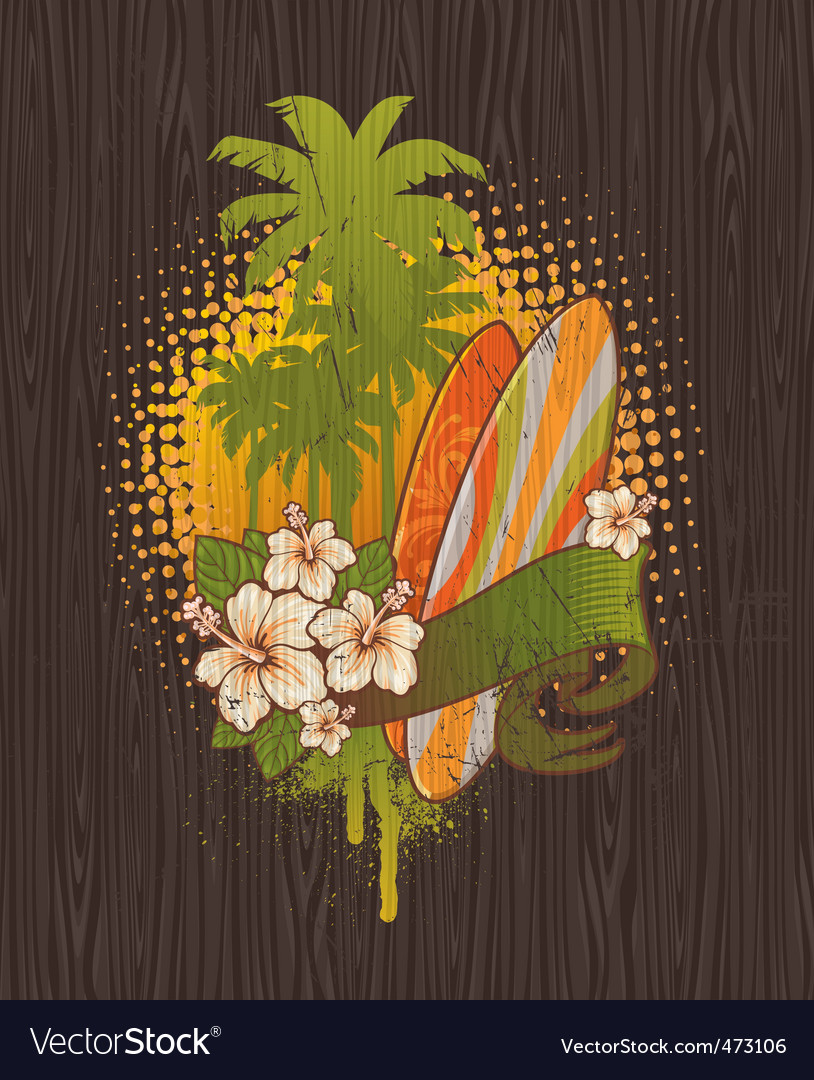 Tropical surf vector