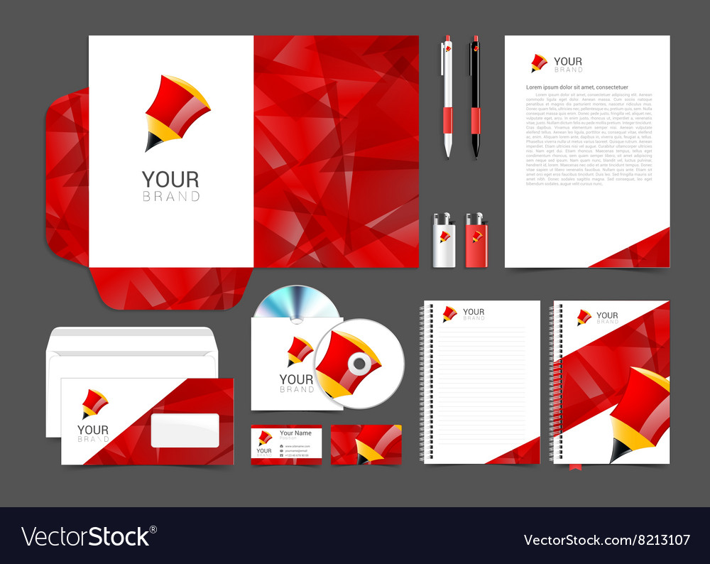 Corporate identity template with red elements vector