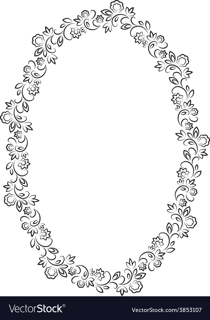 Floral oval frame on white background vector