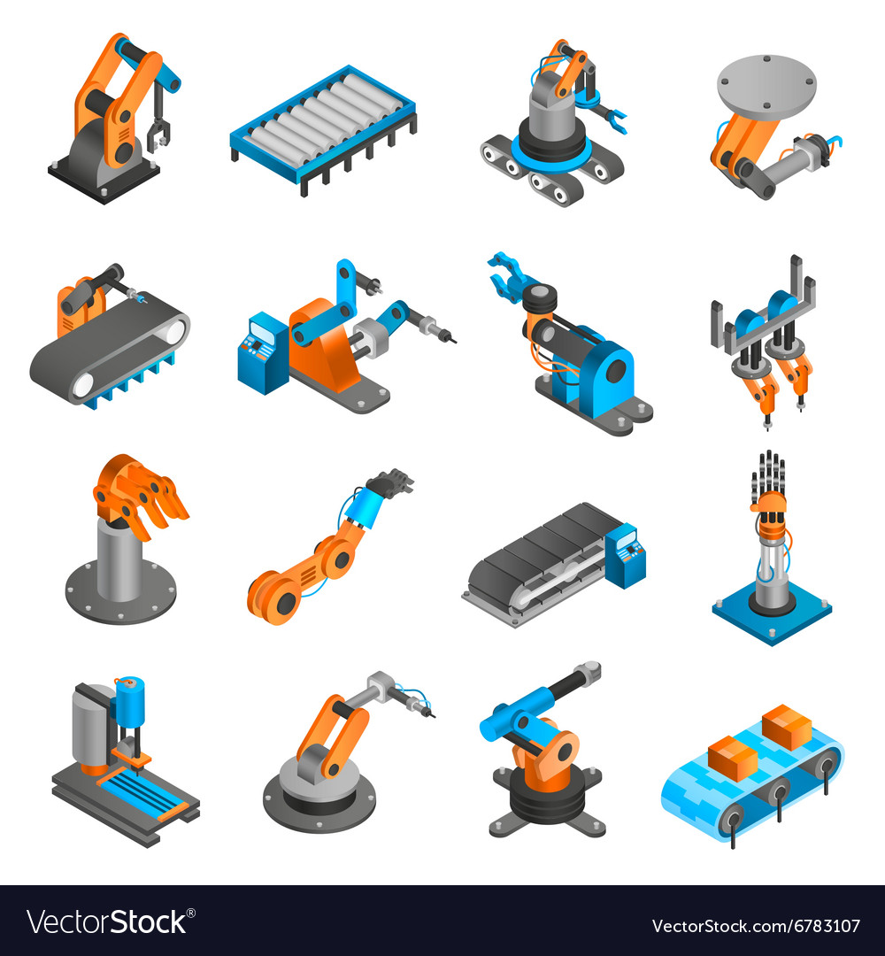 Industial robot isometric icons vector