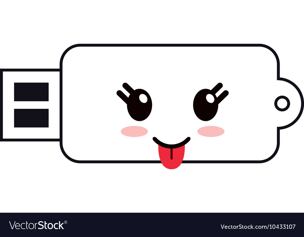 Kawaii usb drive icon vector