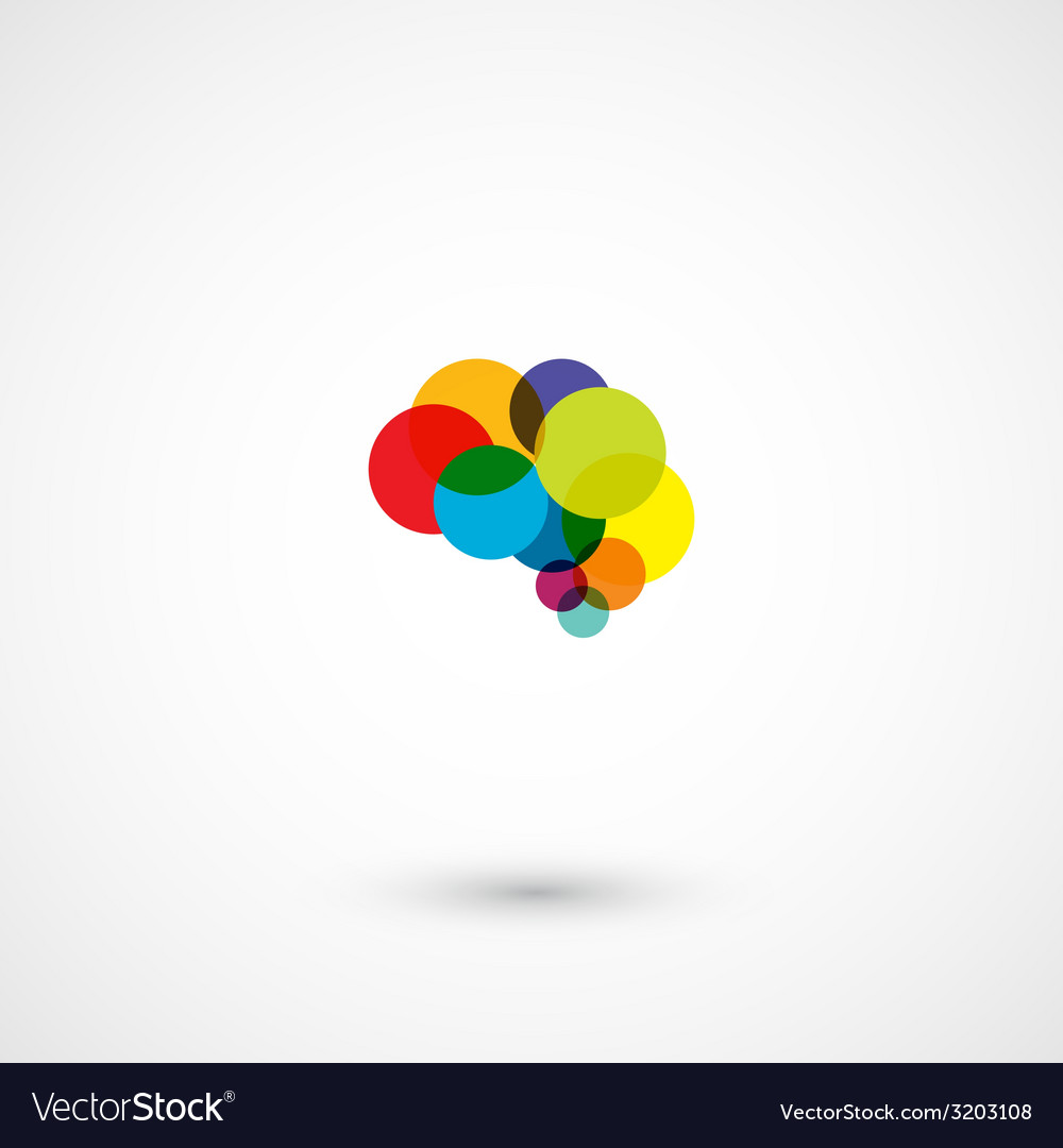Abstract circles brain design vector
