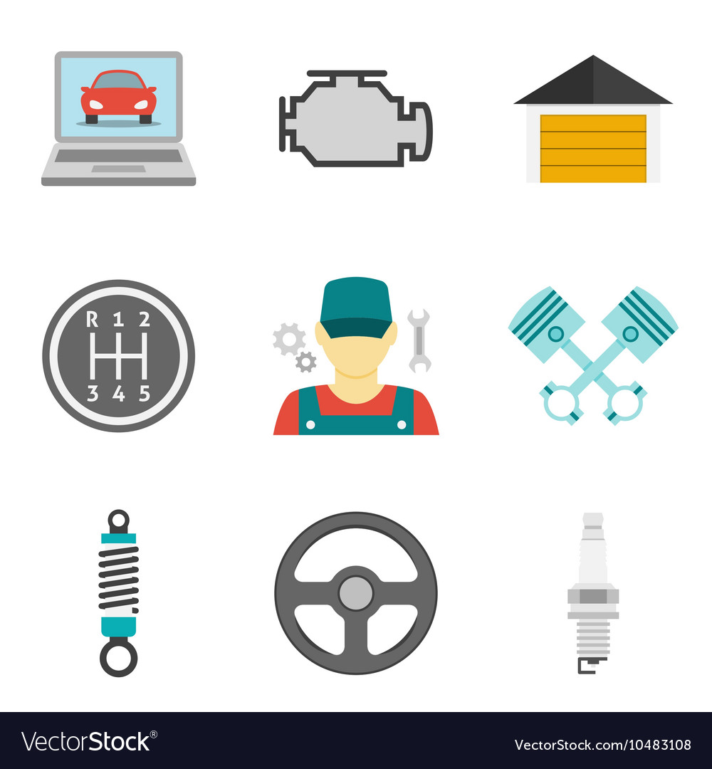 Auto service icons flat vol 2 vector
