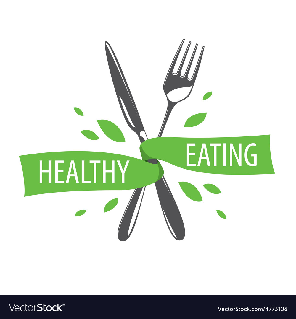 Logo fork and knife for a healthy diet vector