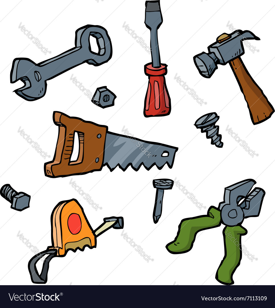 Doodle set of tools vector