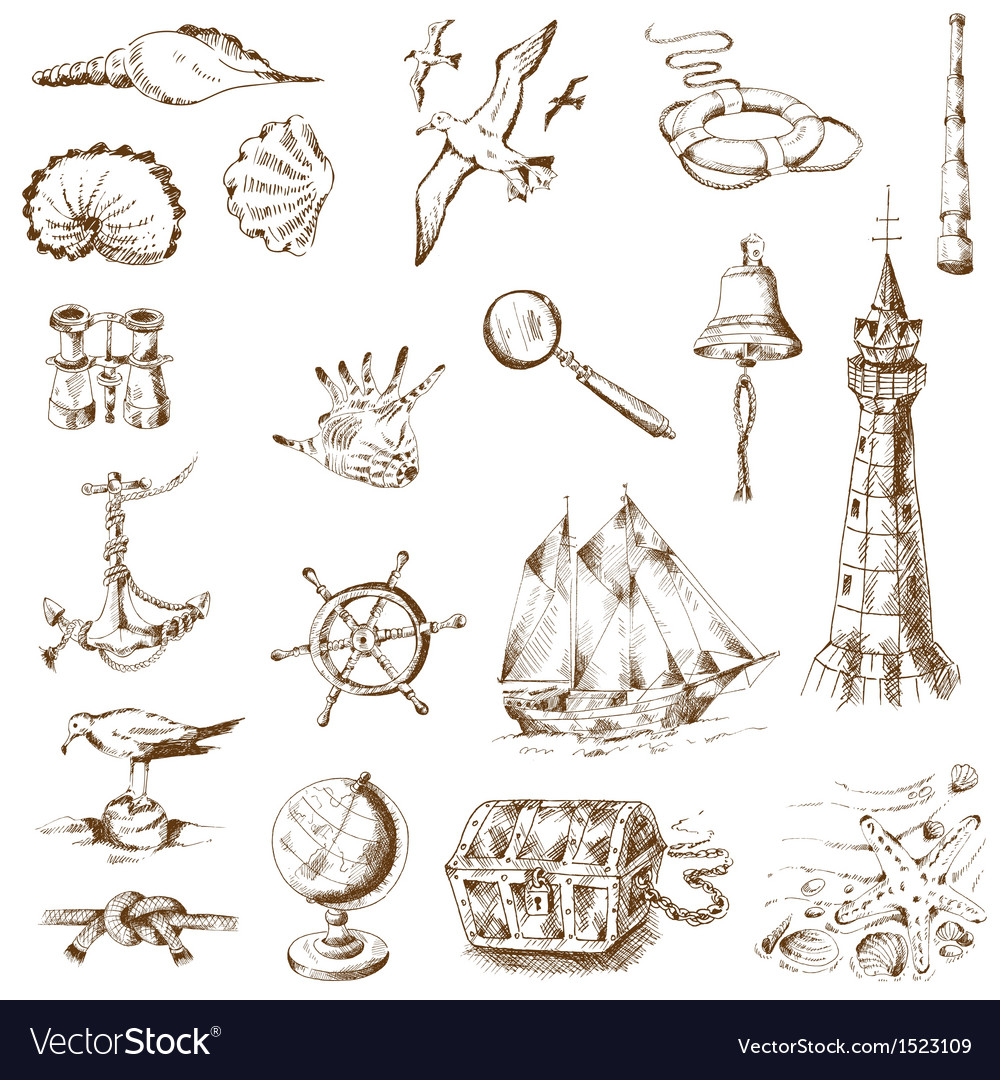 Nautical sea design elements vector