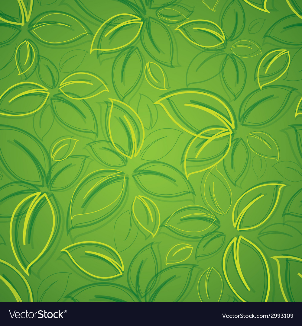 Seamless background with green leaves vector