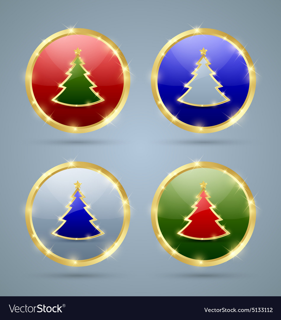Christmas tree icons vector