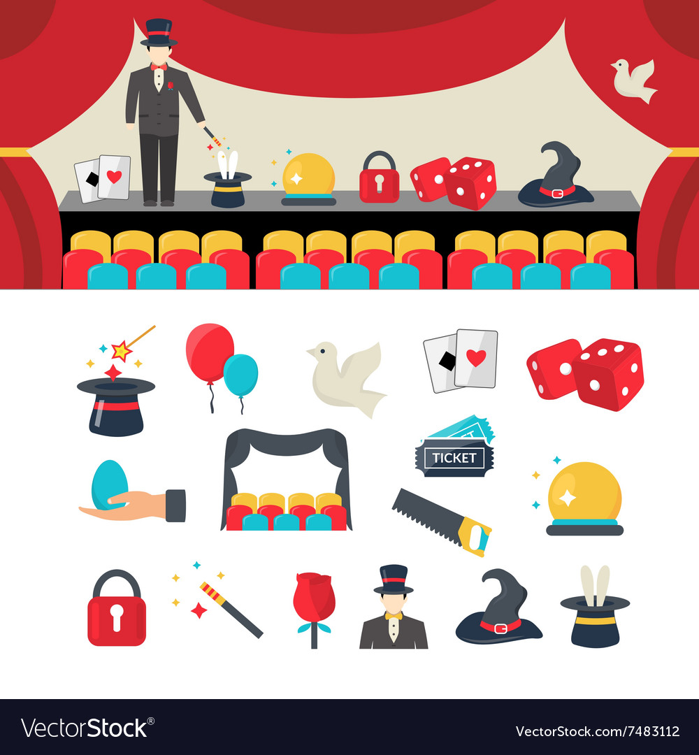 Magician icons set vector