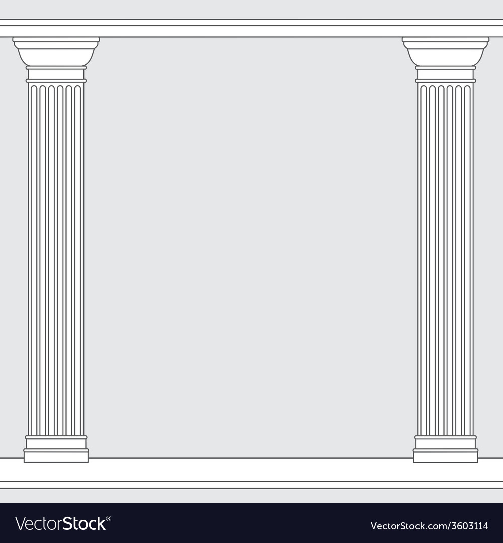 Black and white line drawing doric order columns vector