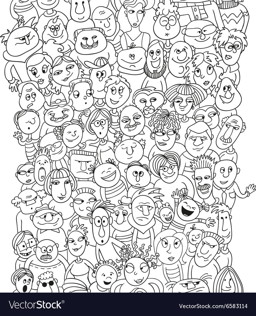 Funny pattern crowd of people faces vector