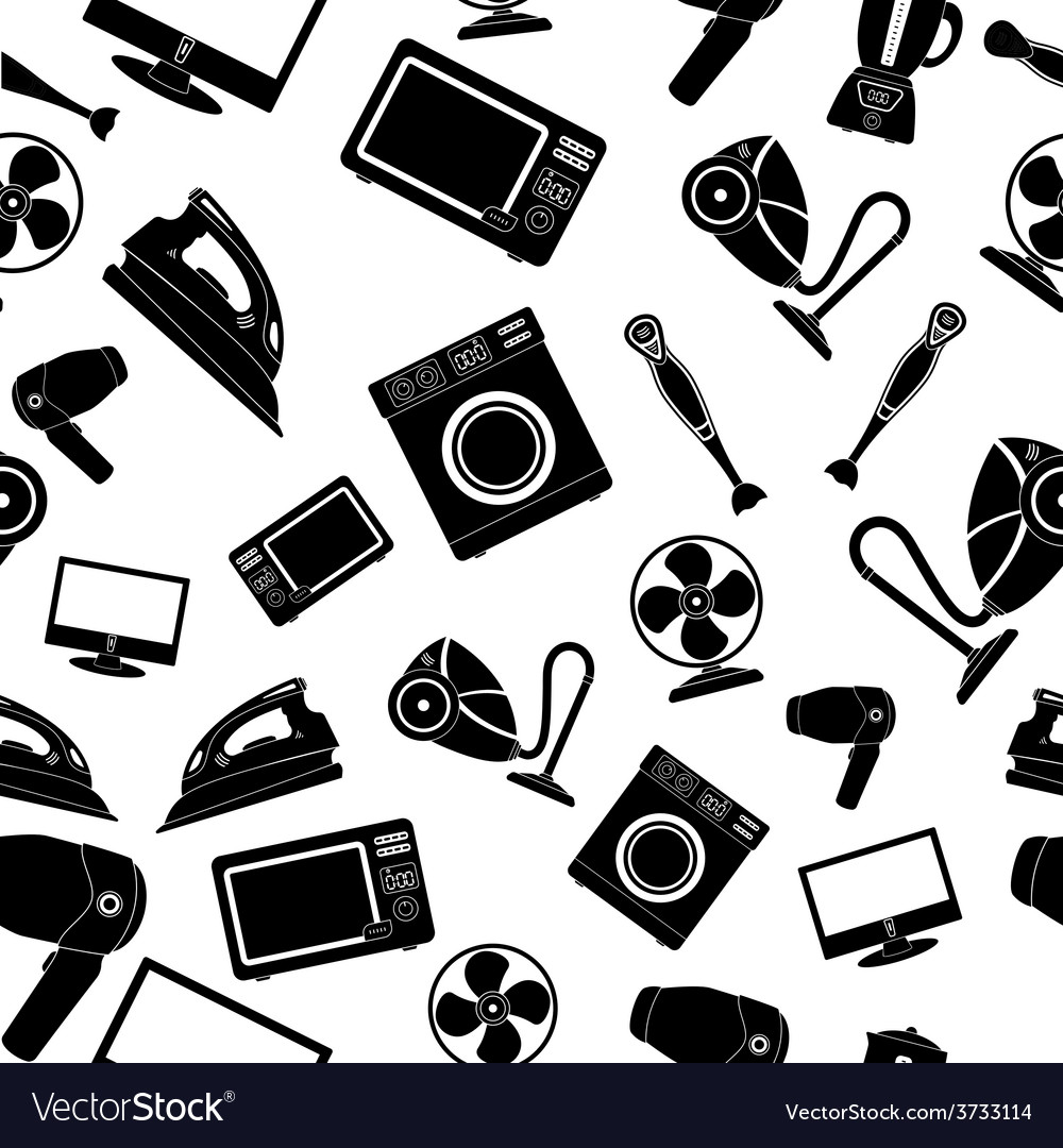 Seamless pattern of household appliance vector