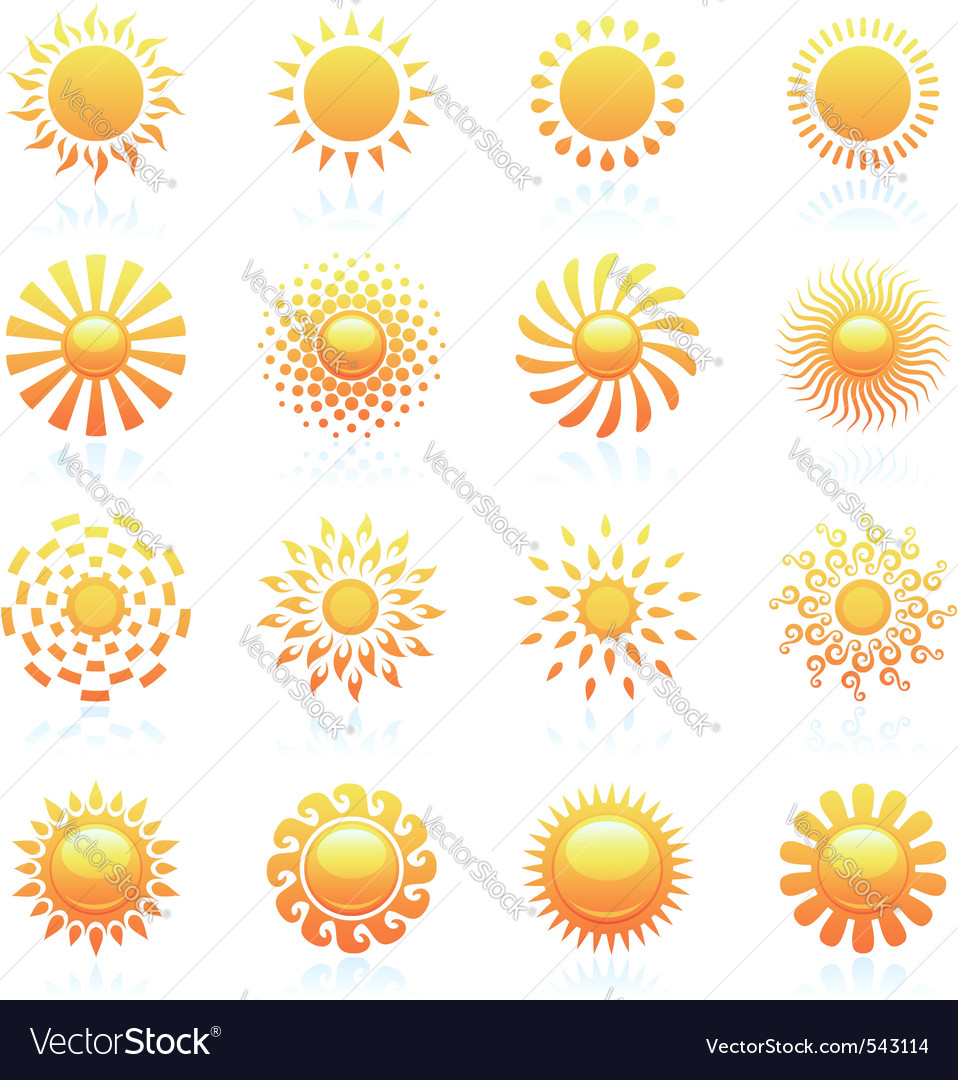 Sun logo template set vector