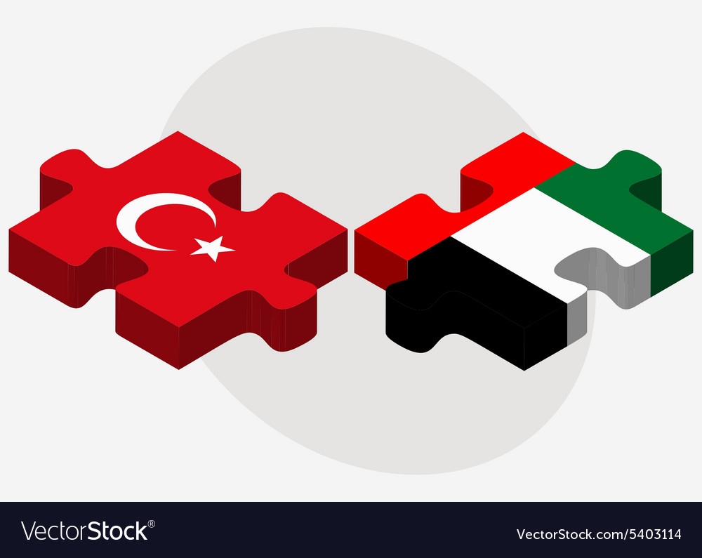 Turkey and united arab emirates flags vector
