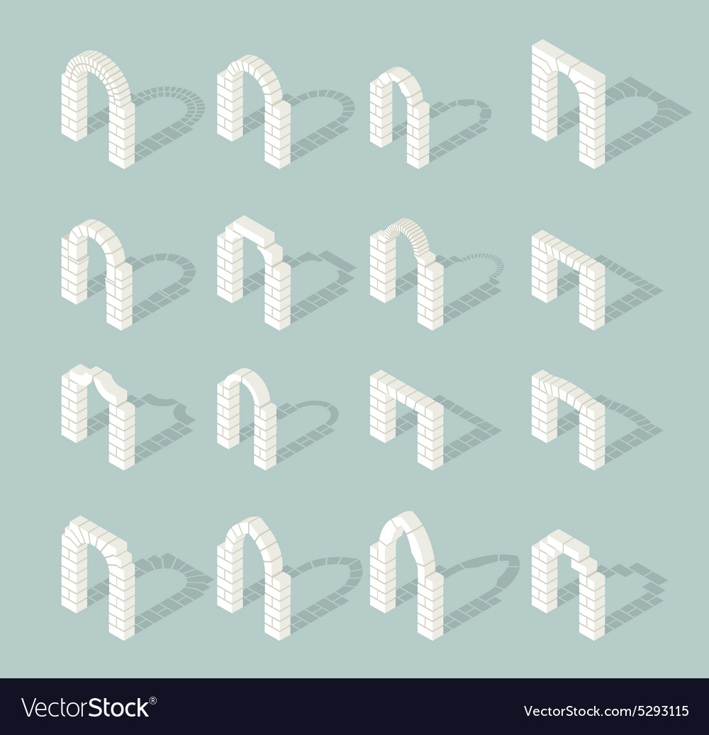 Stone architectural isometric 3d arch icons set vector