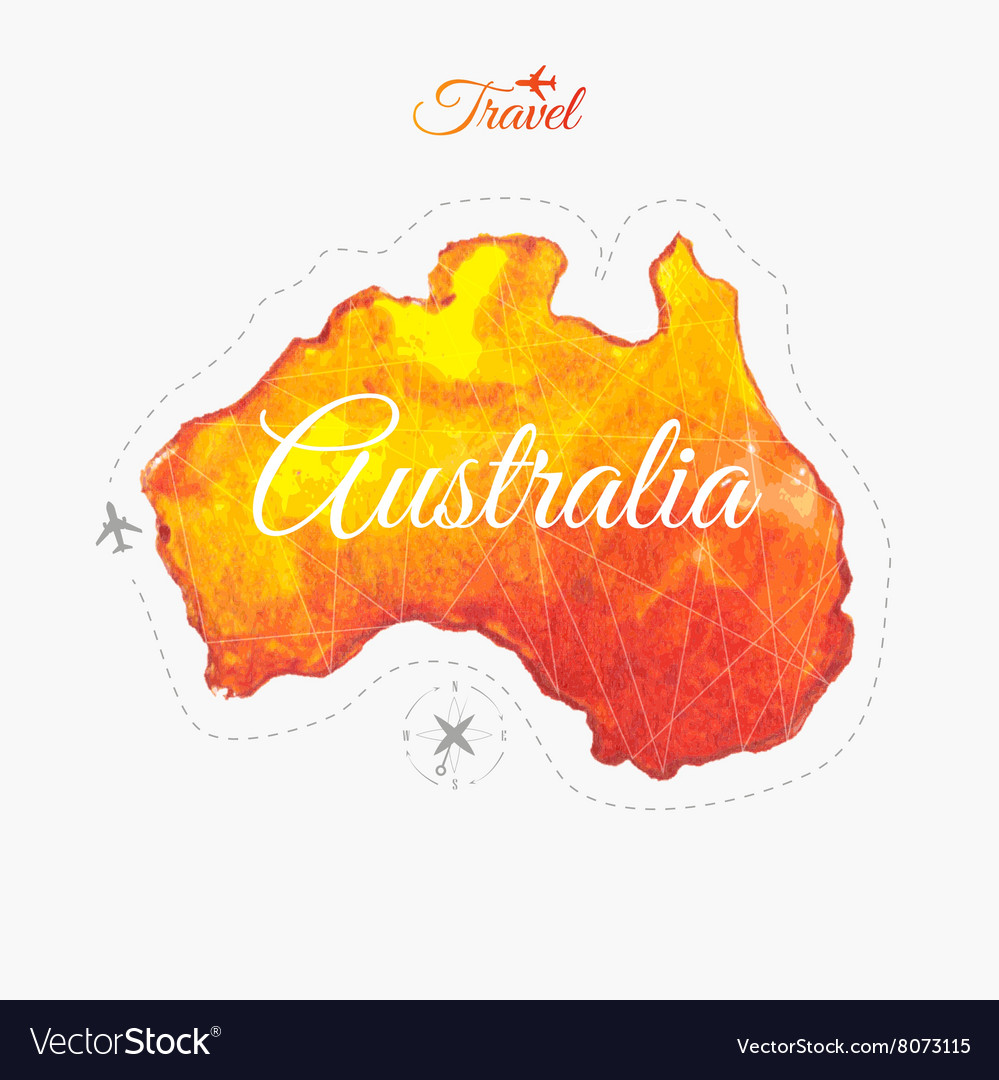Travel around the world australia watercolor map vector