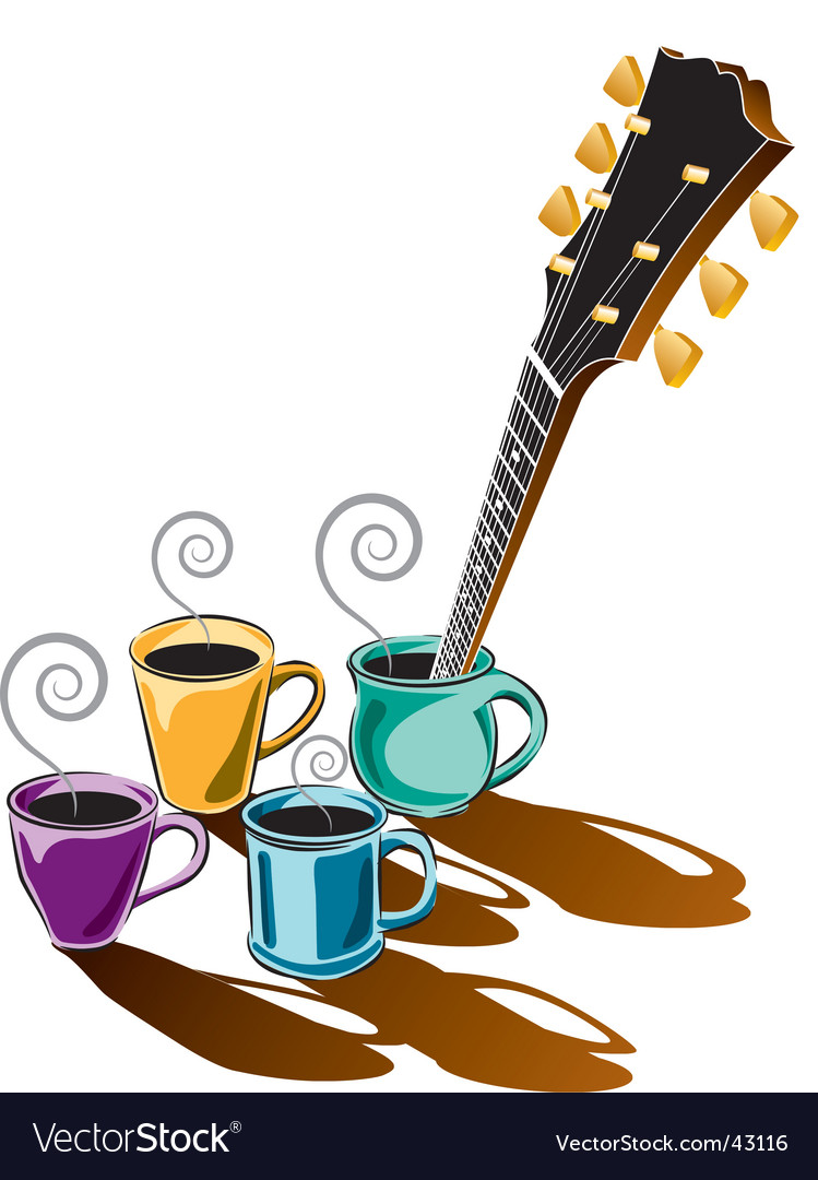 Coffee guitar vector